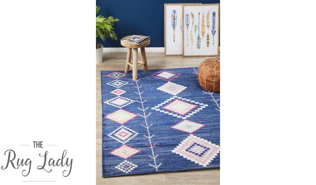 Tanzi Blue Geometric Tribal Rug