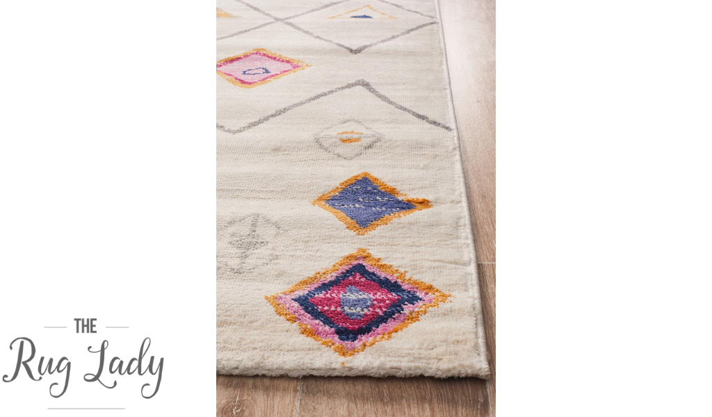 Tanzi White Tribal Pattern Rug