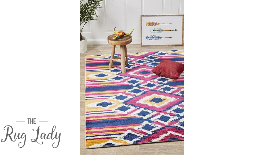 Tanzi Pink Multi-Coloured Diamond Pattern Rug