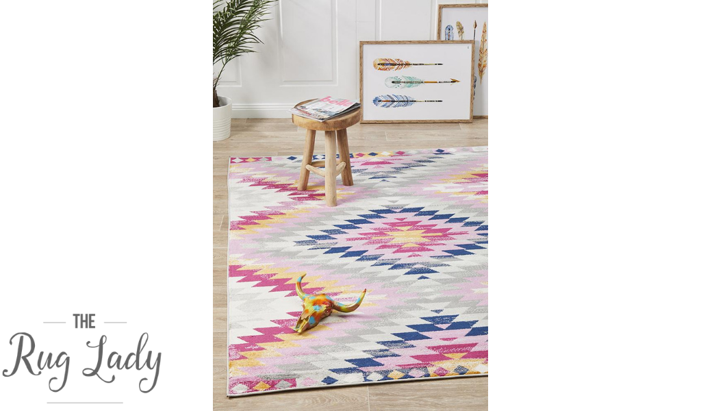 Tanzi White Multi-Coloured Diamond Pattern Rug