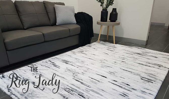 Contemporary Grey Off White Abstract Lines Rug