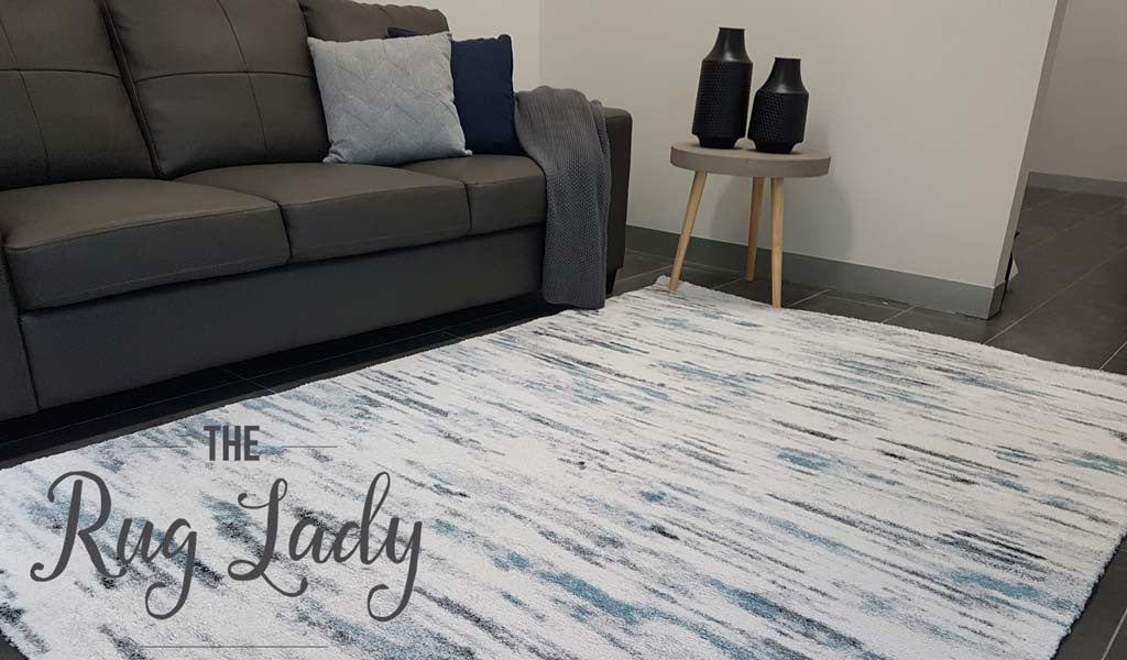 Contemporary Grey Blue Abstract Lines Rug