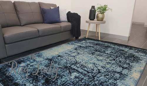 Odyssey Faded Blue Ogee Pattern Rug