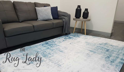 Contemporary Blue Abstract Pattern Rug