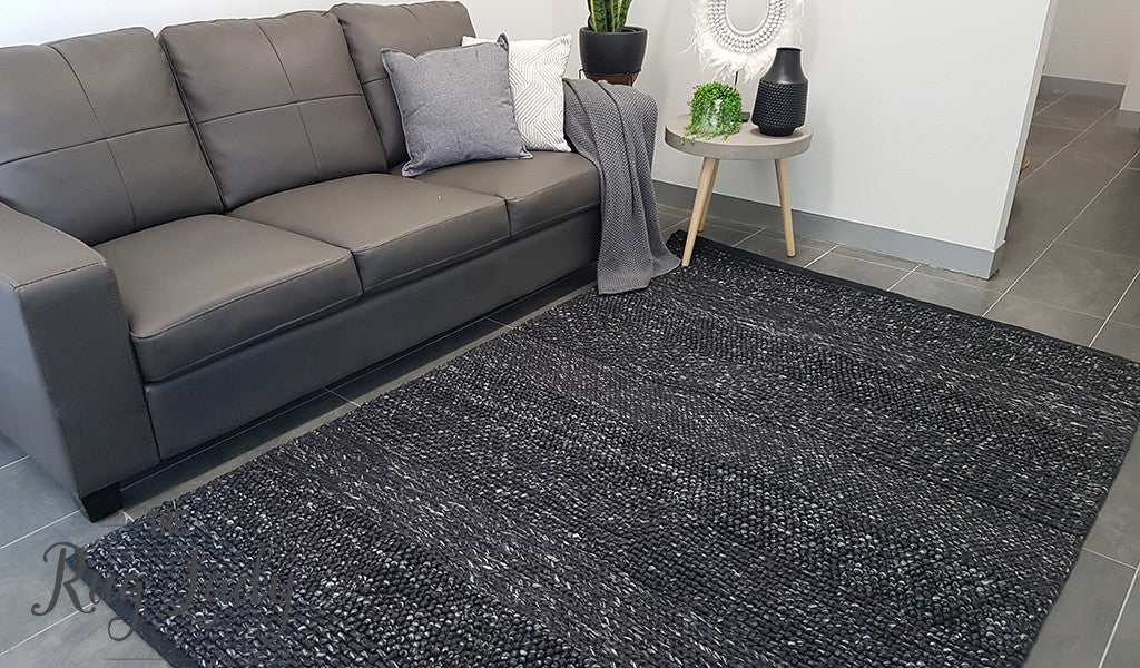 Essence Armani Multi Weave Charcoal Black Felted Wool Rug
