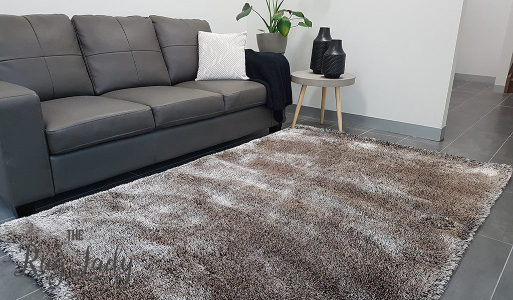Obbo Beige Brown Black Shaggy Rug