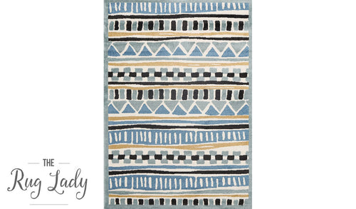 Bambino Blue Yellow Tribal Pattern Rug