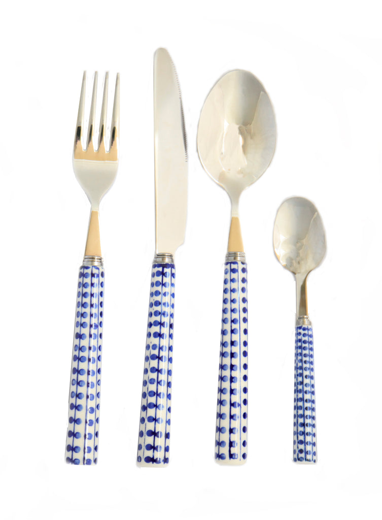 Blue leaf 16 piece cutlery set
