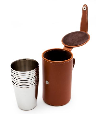 Leather Cased Stainless Steel Numbered Beakers ~ Partridge Tan