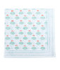 Hand Blocked Cotton Napkins ~ Aqua Orange Lotus ~ Set of 4