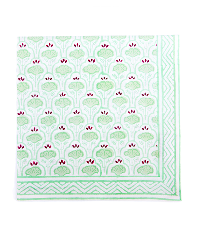 Hand Blocked Cotton Napkins ~ Green Purple Lotus ~ Set of 4
