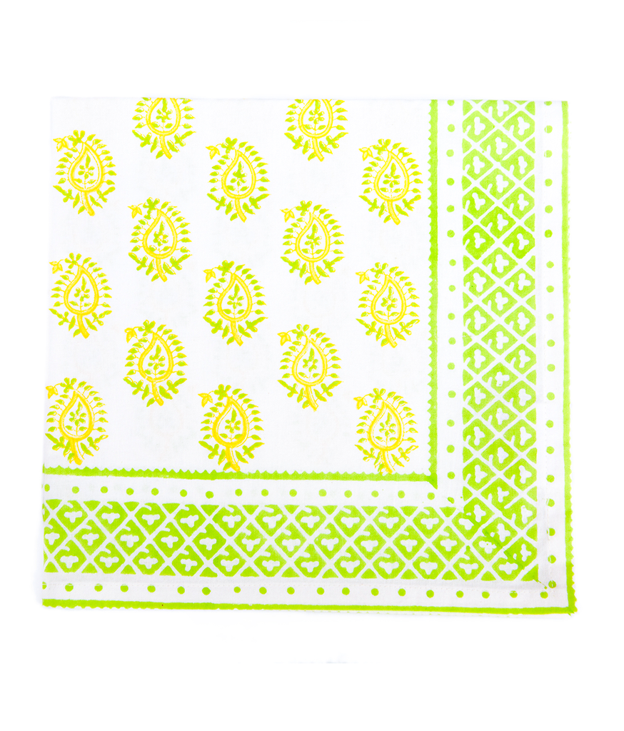 Hand Blocked Cotton Napkins ~ Yellow Paisley ~ Set of 4