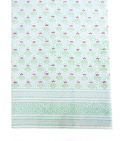 Hand Blocked Cotton Tablecloth ~ Green Purple Lotus