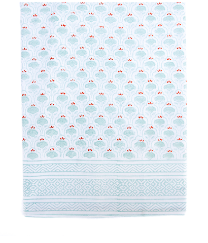 Hand Blocked Cotton Tablecloth ~ Aqua Orange Lotus