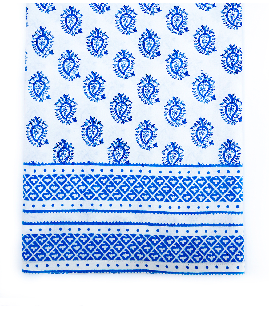 Hand Blocked Cotton Tablecloth ~ Blue Paisley