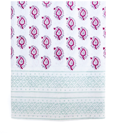 Hand Blocked Cotton Tablecloth ~ Fuchsia Mint Paisley