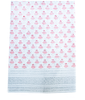 Hand Blocked Cotton Tablecloth ~ Pink Grey Lotus
