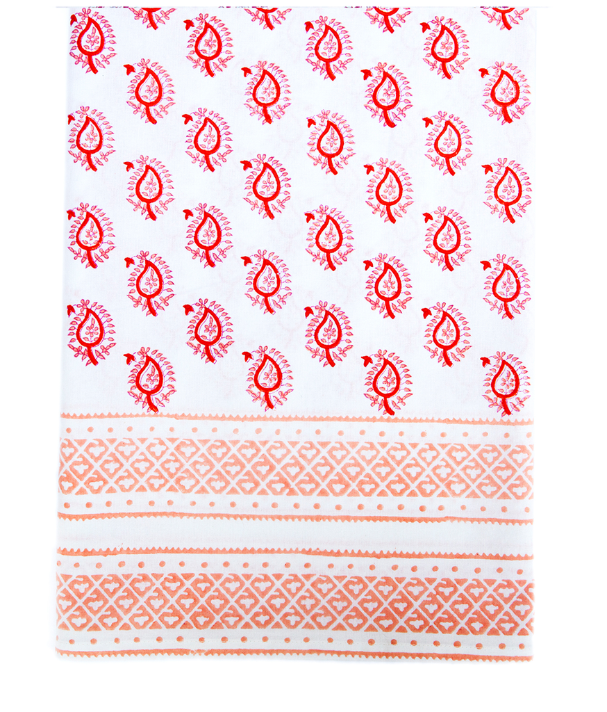 Hand Blocked Cotton Tablecloth ~ Pink Orange Paisley