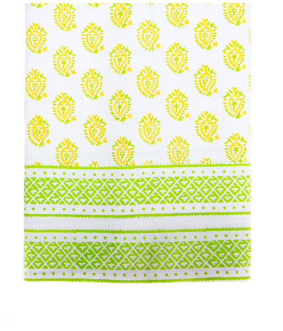 Hand Blocked Cotton Tablecloth ~ Yellow Paisley