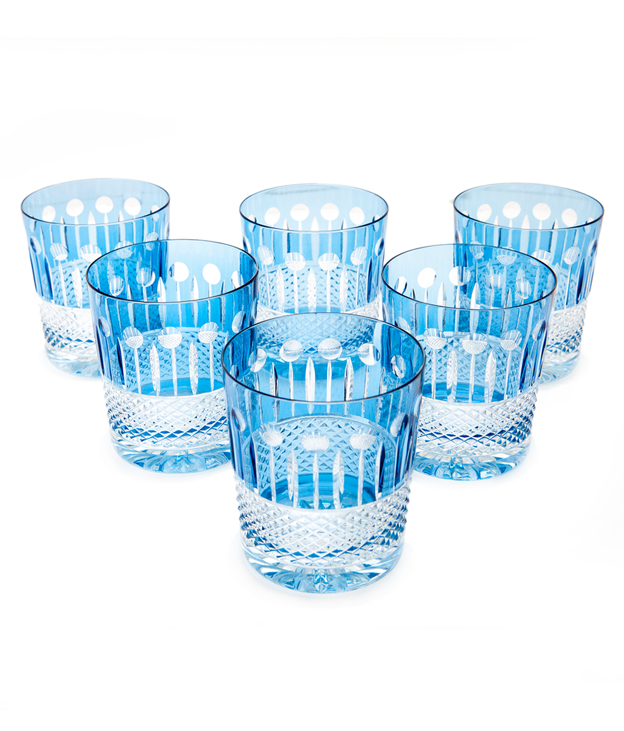 Zofia Crystal Glasses- Ciel Blue ~ Set of 6