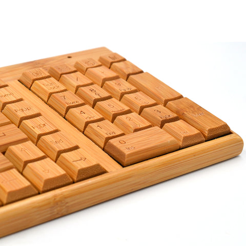Dotech Wireless Hand-Carved Bamboo Keyboard & Mouse Combo