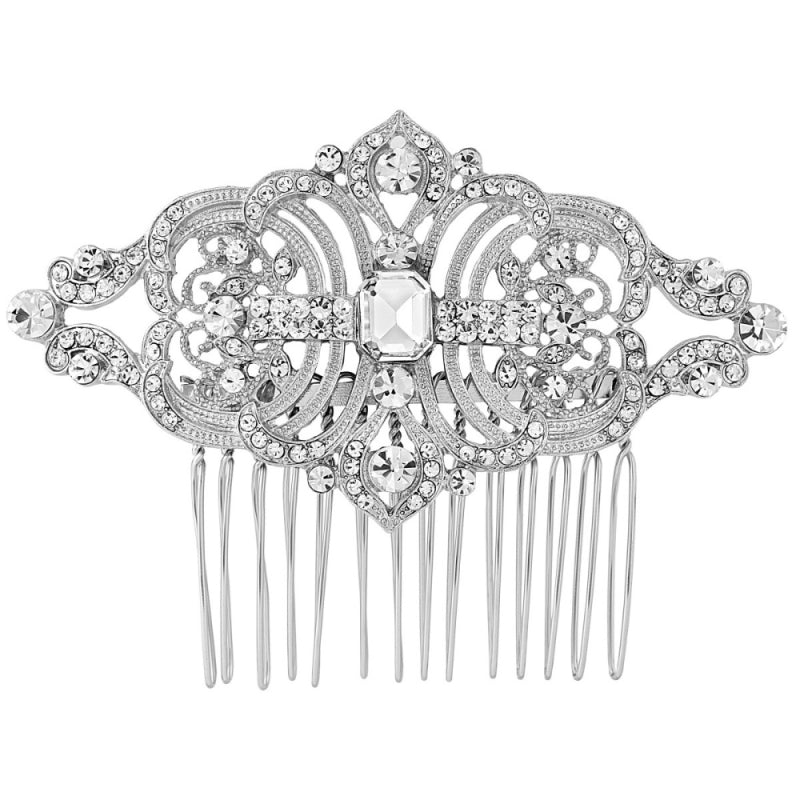 Aviva crystal and pearl hair comb