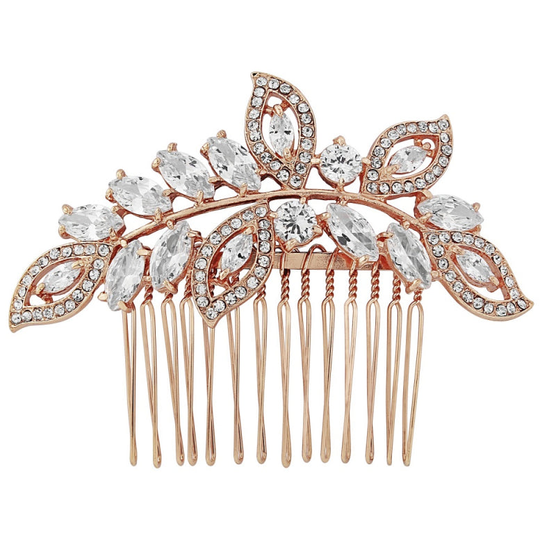 Helena rose gold crystal hair comb