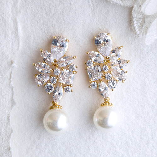 Adela crystal and pearl gold earrings