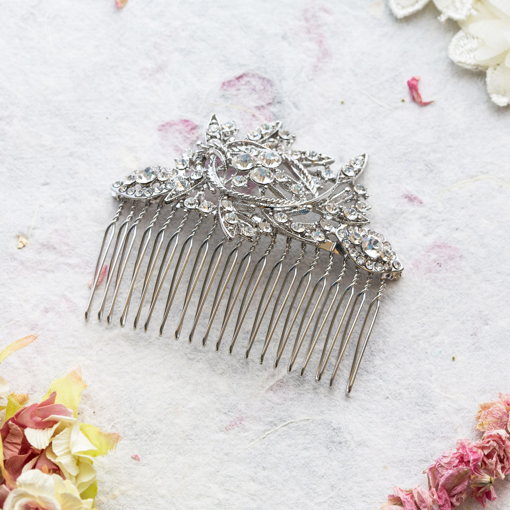 Adelaide crystal and pearl hair comb