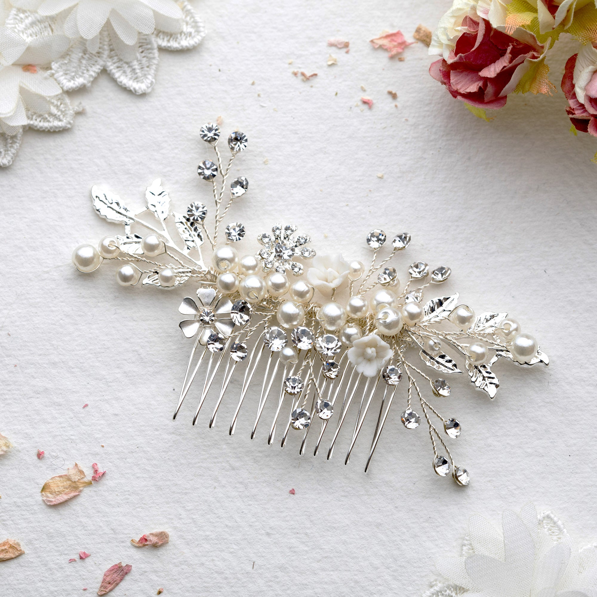 Allegra crystal silver hair comb