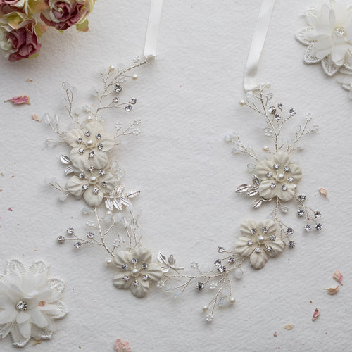 Amarelle crystal silver floral hairvine