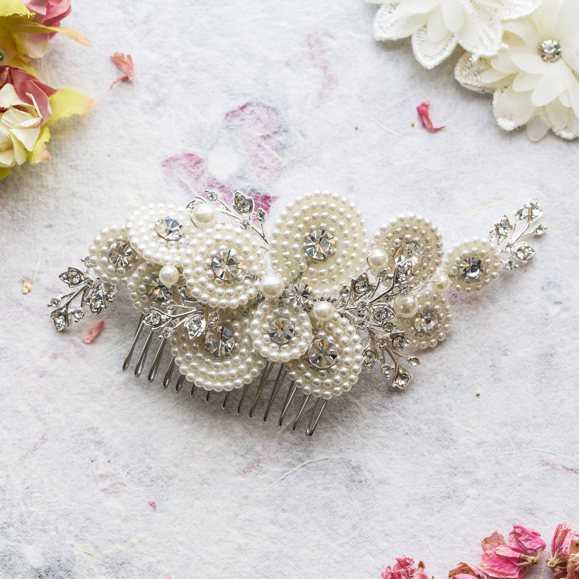 Amelia pearl and crystal silver hair comb