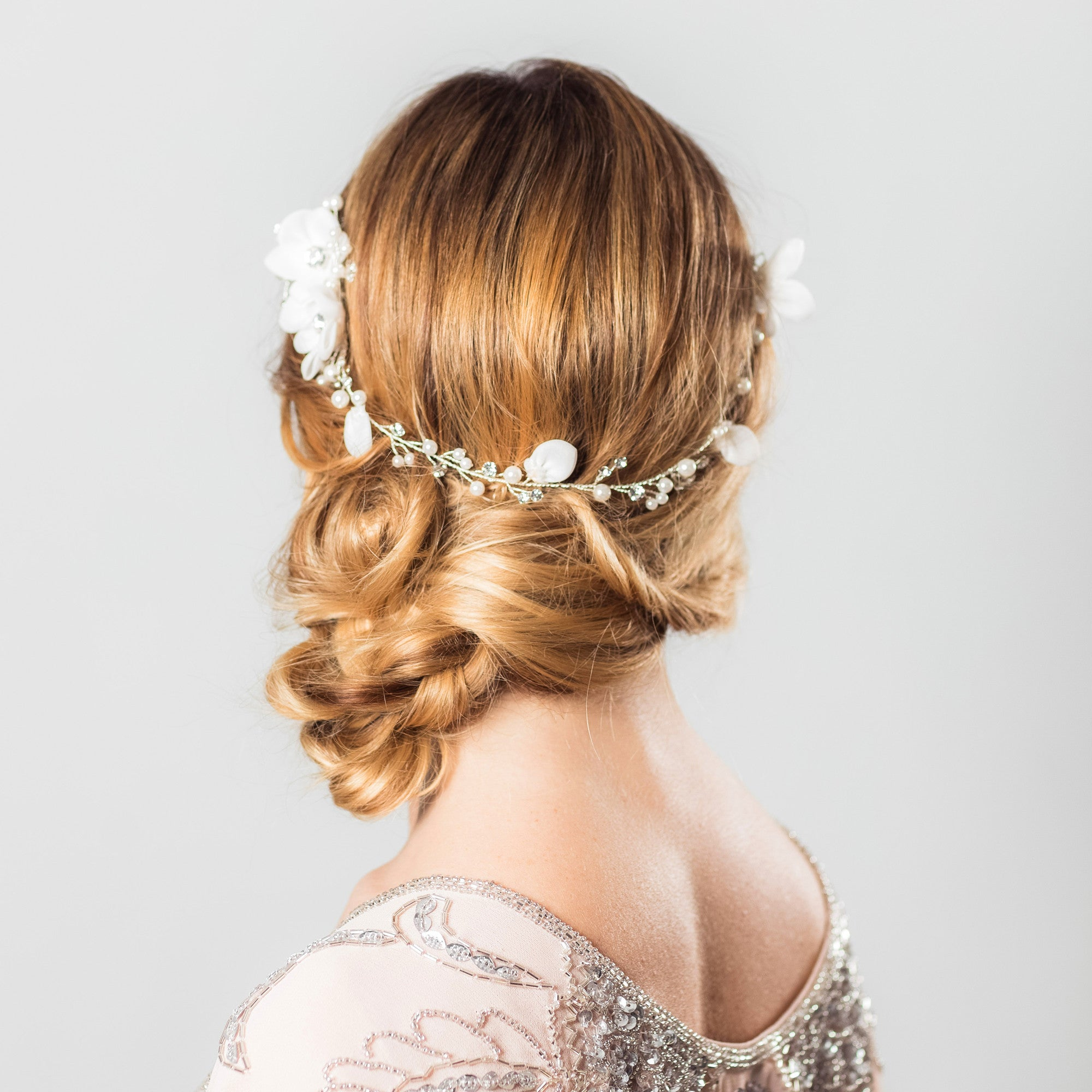 Anais crystal rose gold floral hairvine