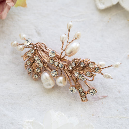 Aurélie rose gold crystal hair clip