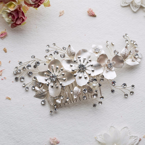 Ruthie flower silver hairpiece