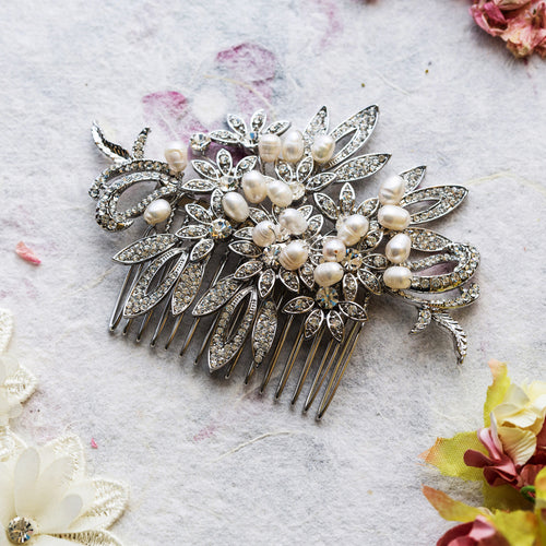 Bella crystal and pearl hair comb