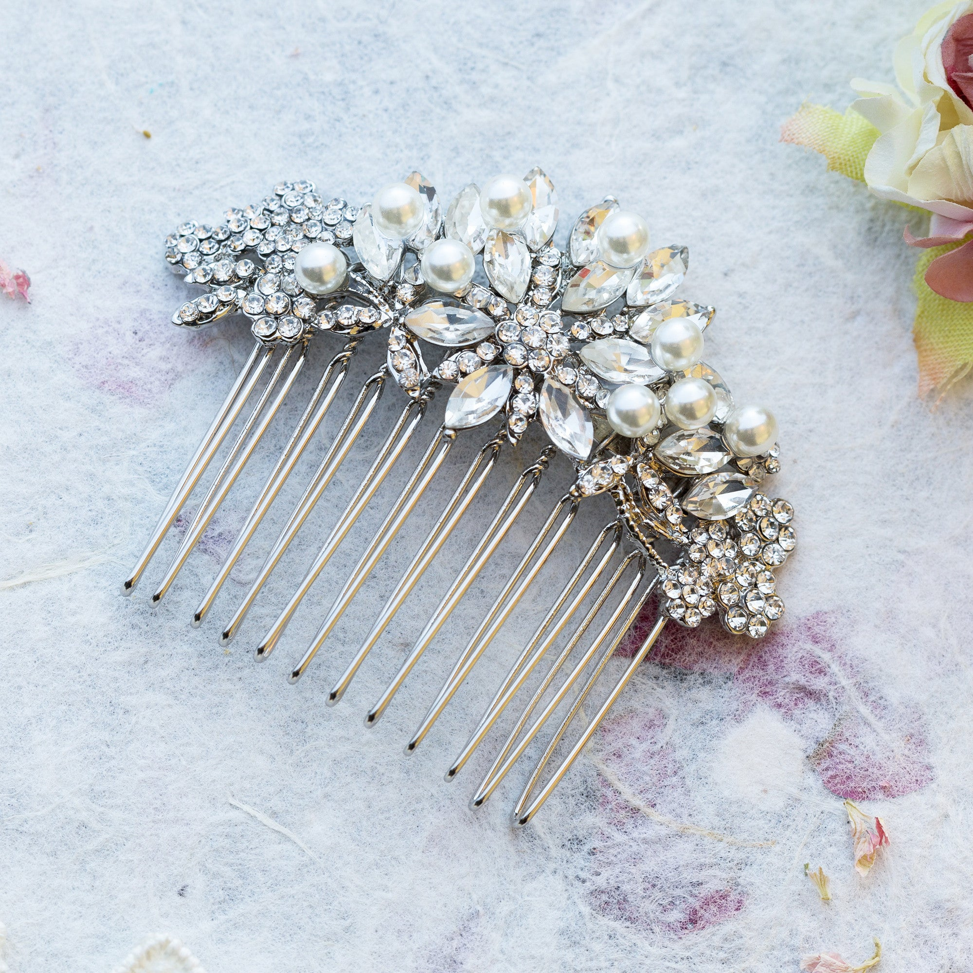 Bette crystal and pearl gold hair comb