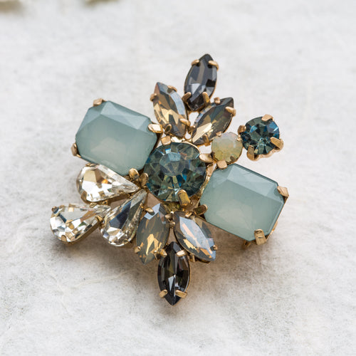 Binny blue crystal Deco brooch