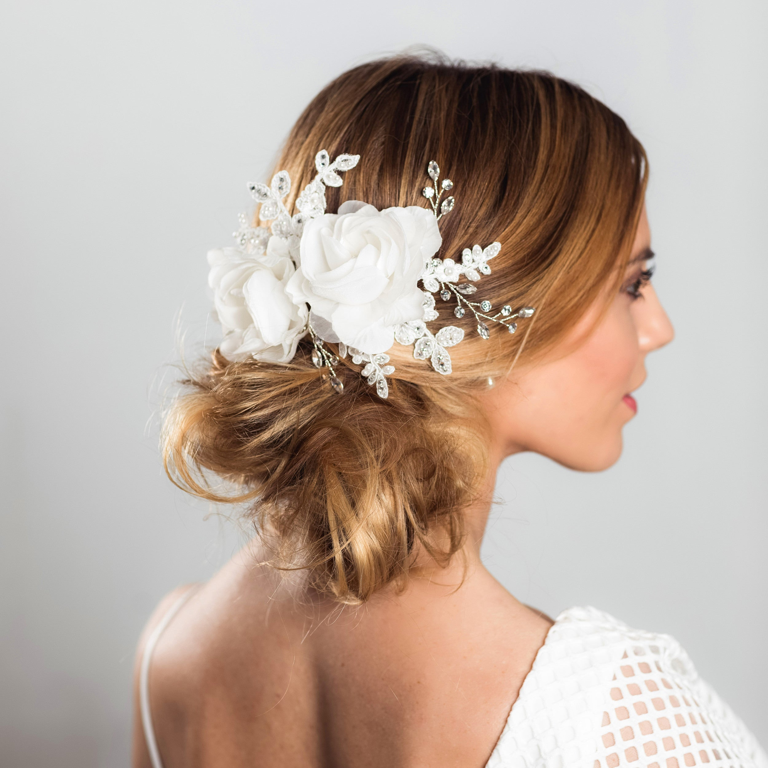 Blossom rose gold fabric and crystal hairpiece