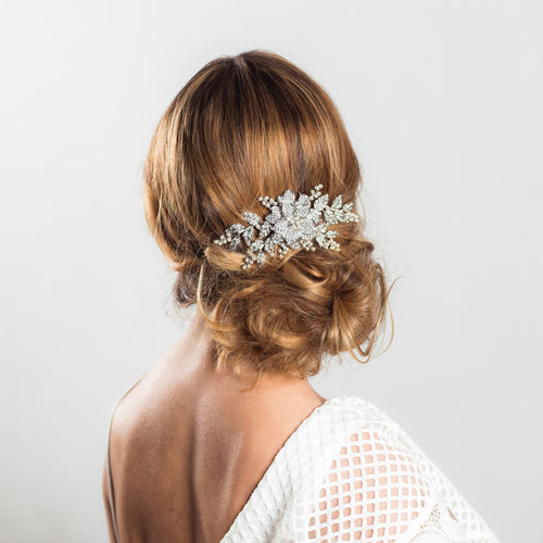 Bobbie silver crystal hairpiece