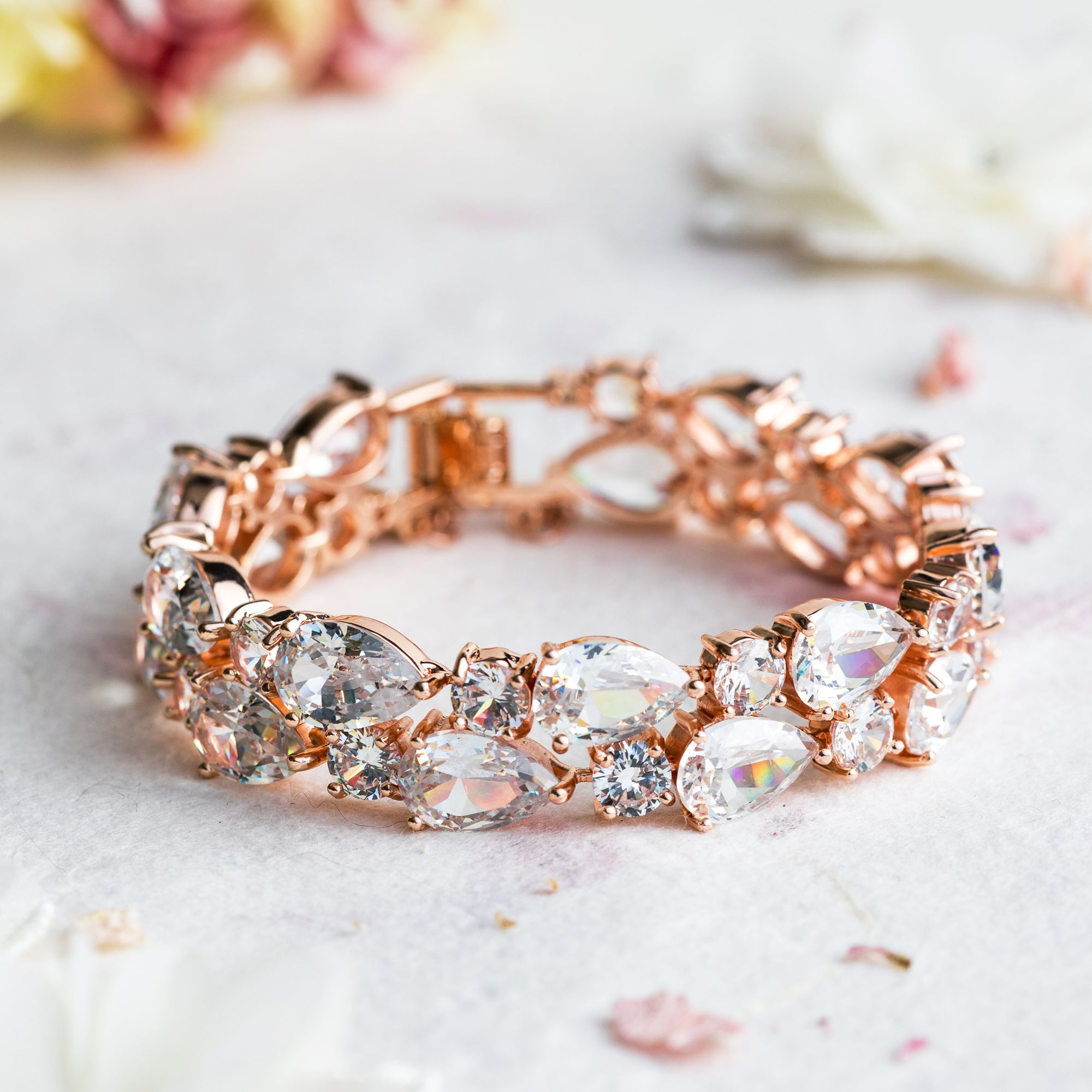 Bonita crystal and rose gold bracelet