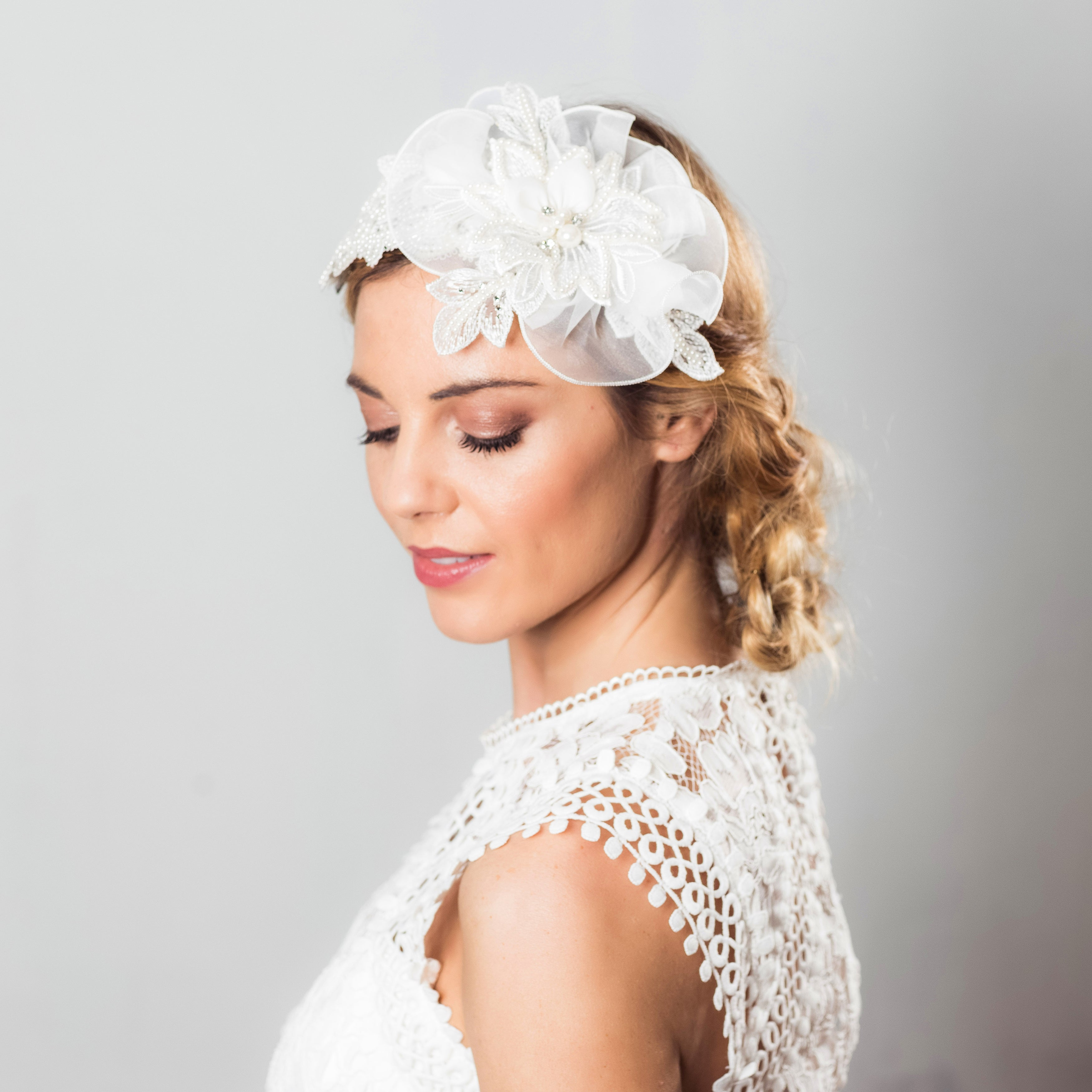 Briana silk flower hairpiece