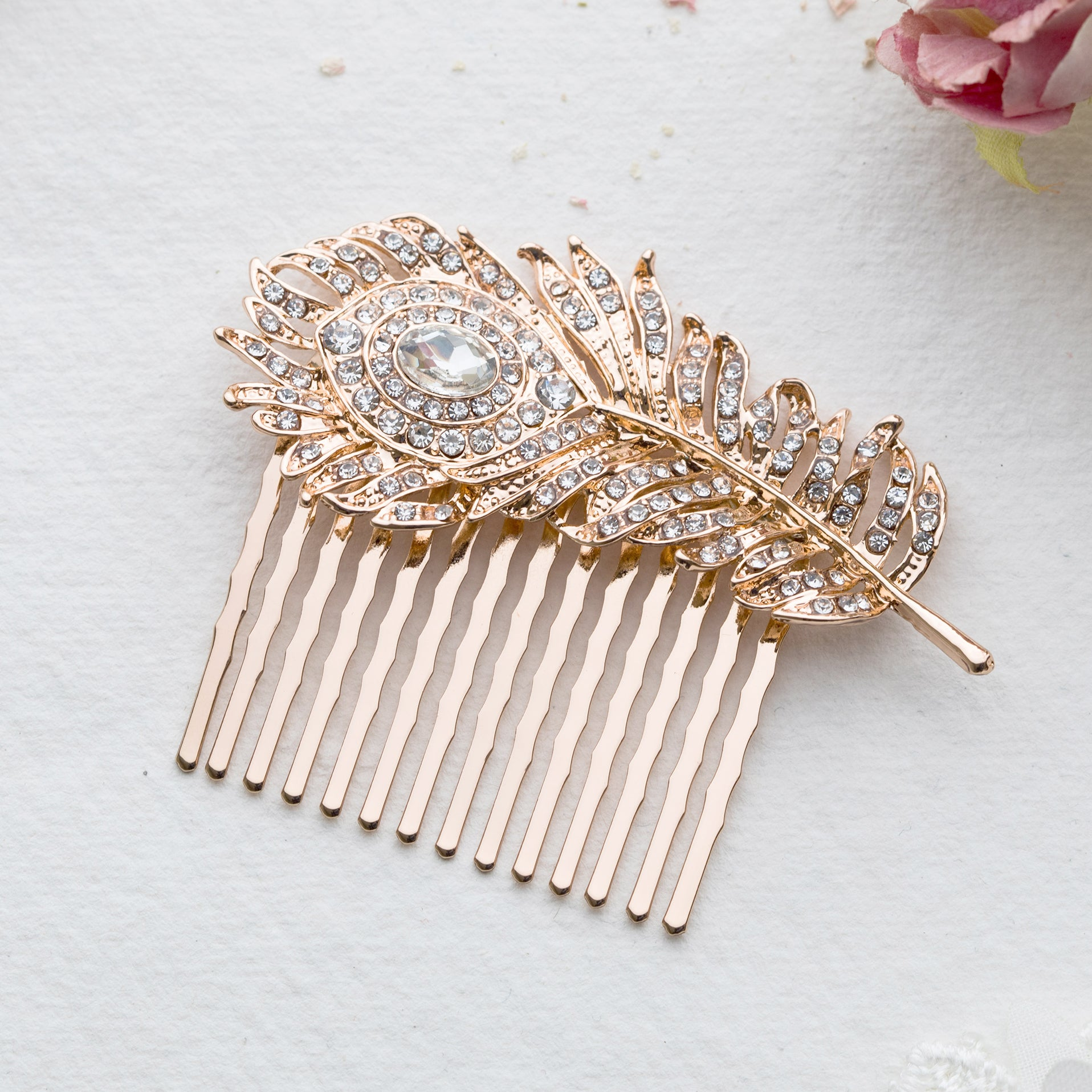 Carla crystal silver feather hair comb