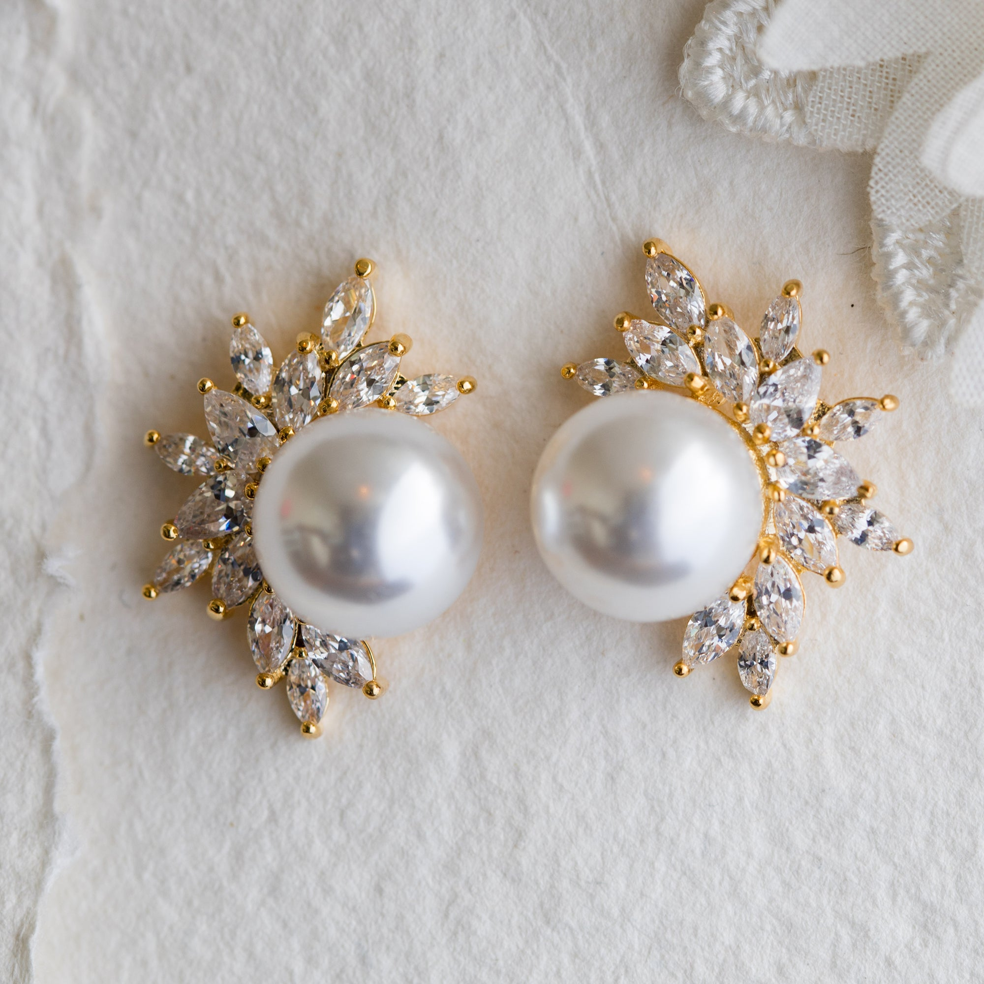 Cece crystal and pearl gold earrings