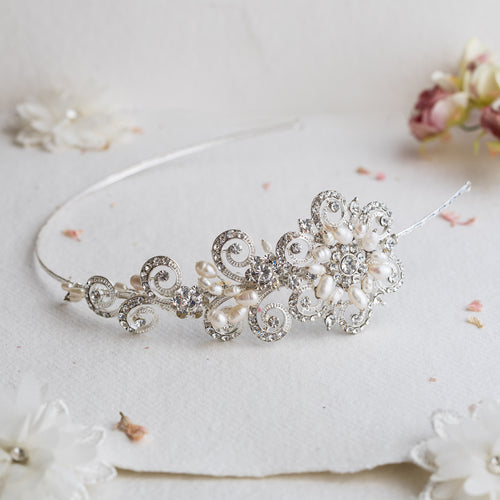 Cecilia pearl and crystal hairband