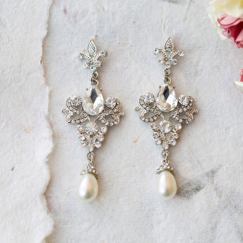Azina crystal and pearl earrings