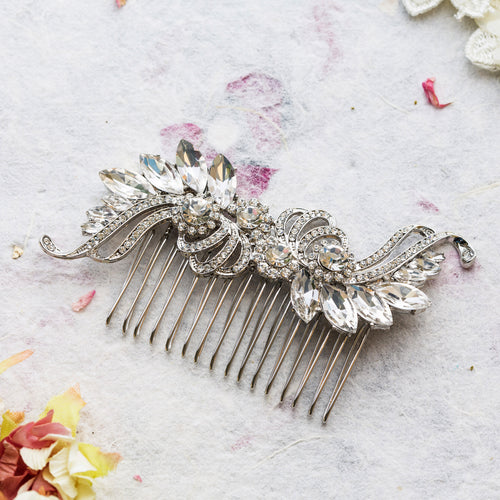 Clare crystal hair comb