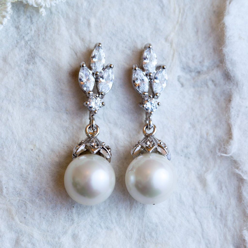 Bettina crystal and pearl earrings