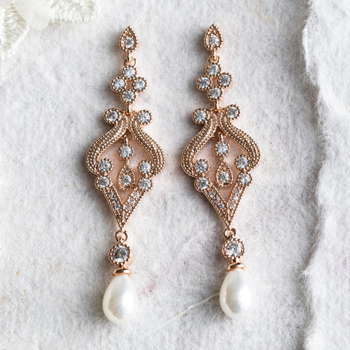 Denna crystal and pearl earrings