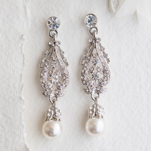 Dorothy crystal and pearl earrings